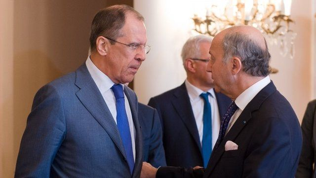 Sergei Lavrov and Laurent Fabius