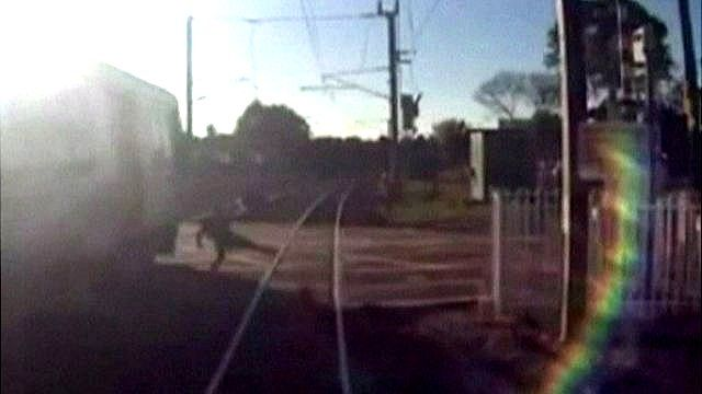 CCTV footage of pedestrian narrowly missing an oncoming train
