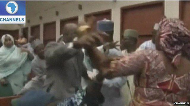 Nigerian politicians brawl in parliament