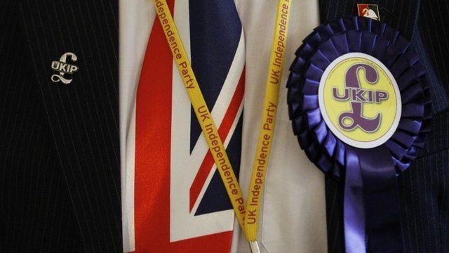 Delegate wearing UKIP badges and Union Jack tie