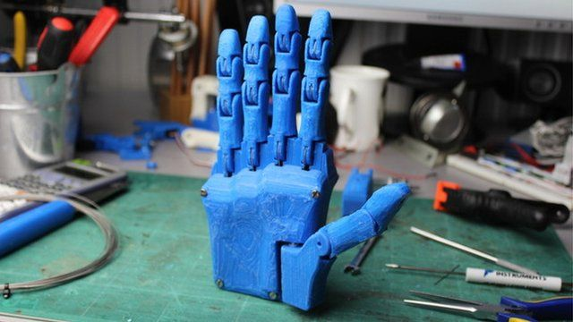 The prototype hand was designed and built using a 3D printer