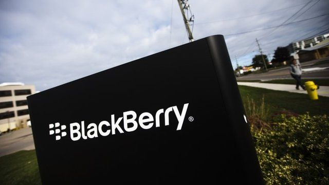 Blackberry sign at its campus in Waterloo