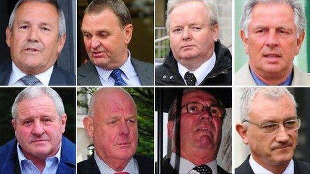 Top row: Michael Daniels, Peter Greenwood, Paul Jennings, Graham Mouncher. Bottom row: Thomas Page, Richard Powell, John Seaford and Paul Stephen