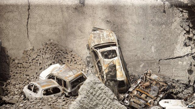 Destroyed cars at the Westgate mall in Nairobi on September 26, 2013