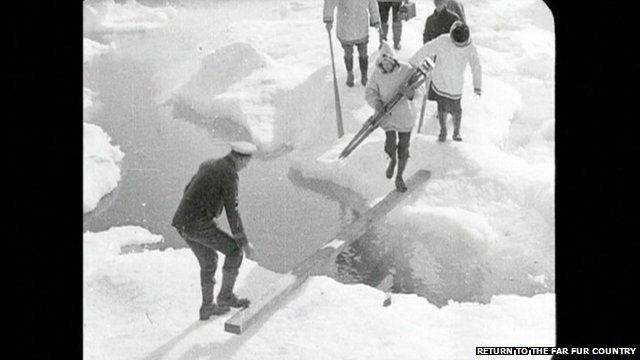 People crossing ice