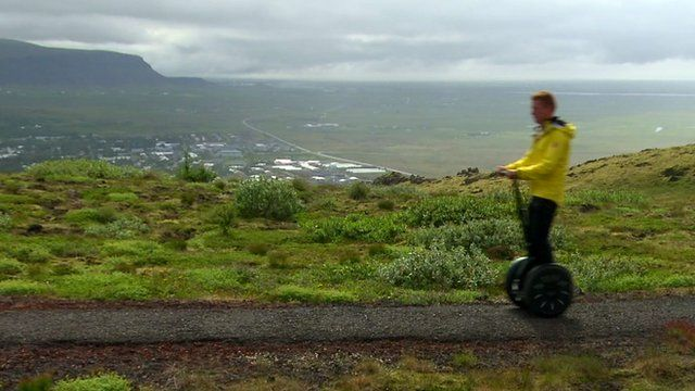 Icelandic man on a two-wheeled electric vehicle