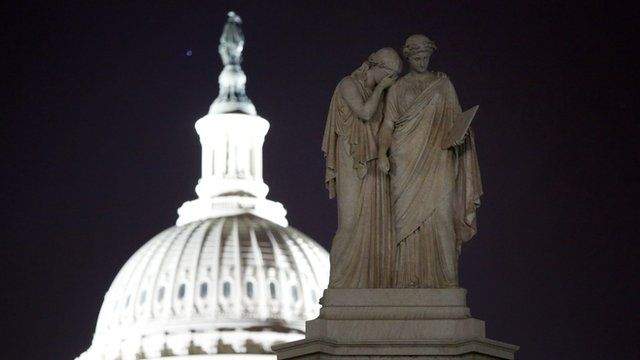 Statues representing Grief and History outside the US Congress
