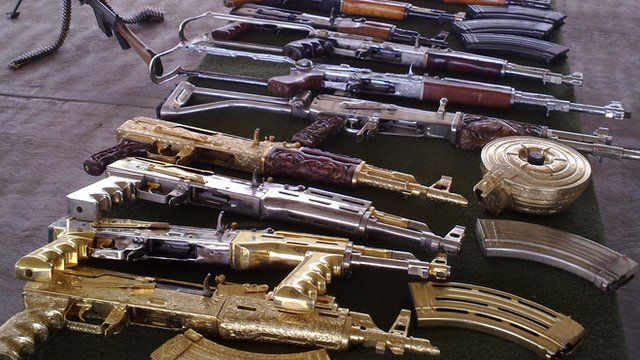Guns taken from drugs cartels by the Mexican Army