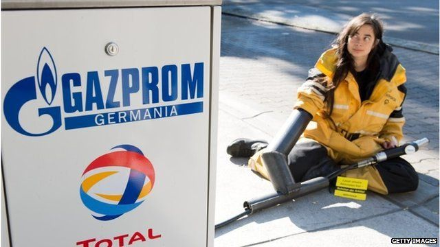 Greenpeace protester at Gazprom fuel station in Berlin