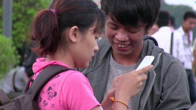 Girl uses smart phone