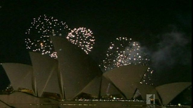 Fireworks in the sky over Sydney Opera House