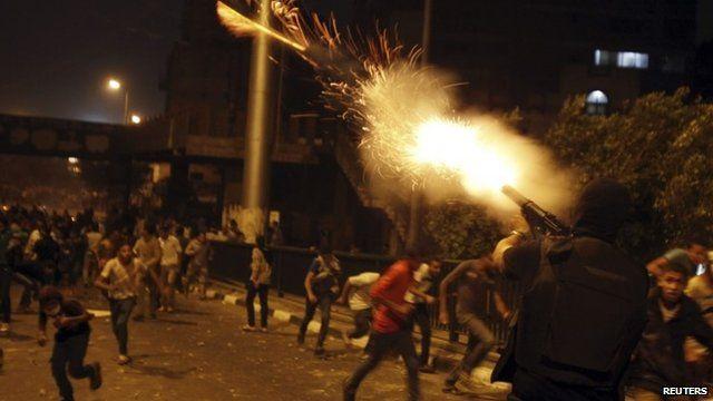 Troop fires gun in Cairo