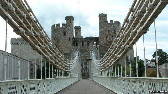 Conwy Castle and suspension bridge