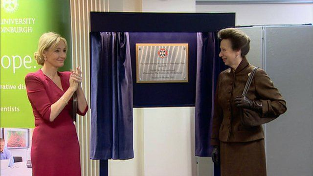JK Rowling (L) and Her Royal Highness, The Princess Royal