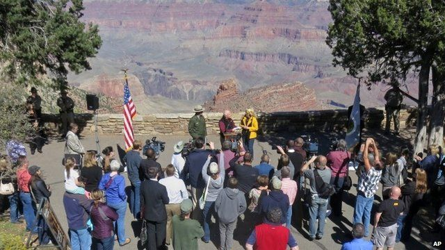 Arizona Governor Jan Brewer announces the reopening of the Grand Canyon National Park