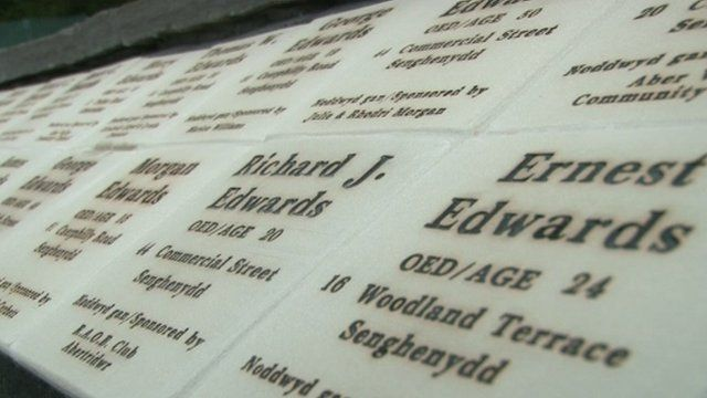 Names of those killed in the Senghenydd pit disaster in October 1913