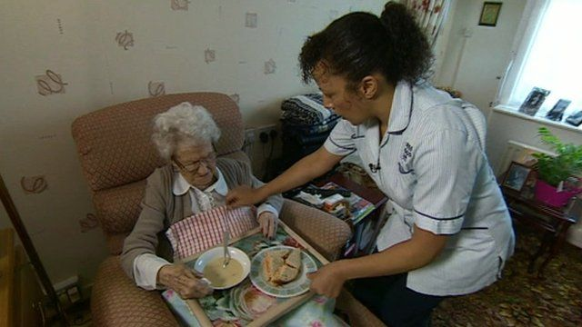 Care worker giving elderly lady a meal