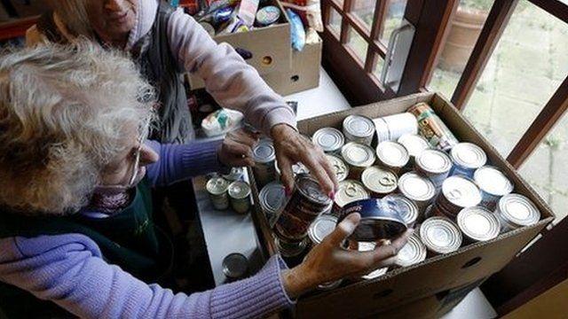 Volunteers at food bank in south London