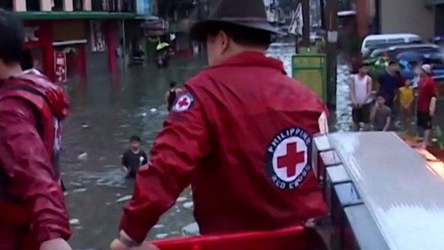 Rescue teams in the Philippines