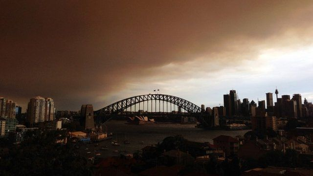 A general view of Sydney shrouded in smoke haze is seen on October 17, 2013