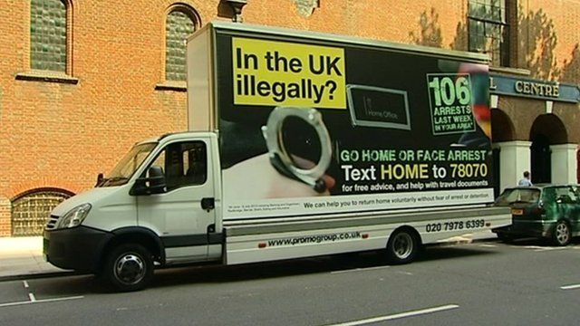 "Mobile advert with ""go home"" message"