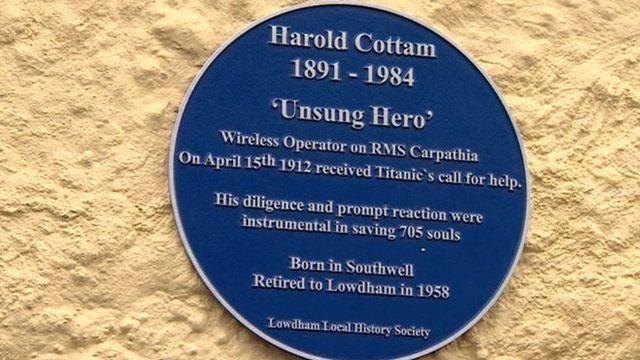 Blue plaque for Harold Cottam