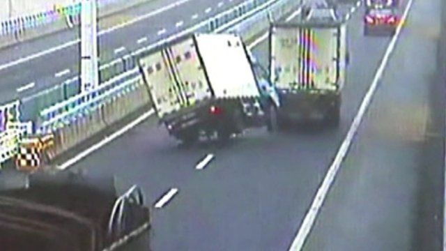 The lorry swerving