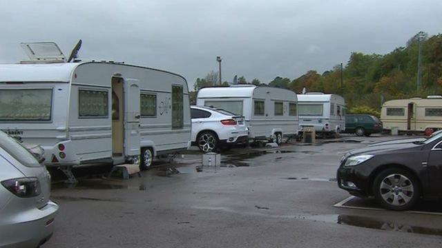 Caravans in the car park