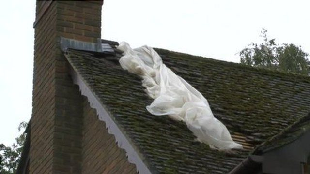 The roof after being struck by lightning