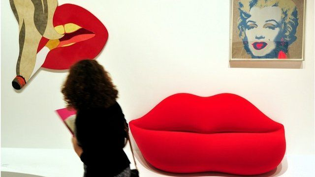"""Smoker Banner"""" by US artist Tom Wesselmann, """"Bocca"""" by Studio 65 and """"Marilyn Monroe"""" by US artist Andy Warhol"""