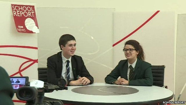 School Reporters from St Columb's College rehearse on the set of their news studio