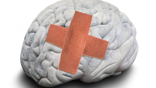 Brain with plaster on