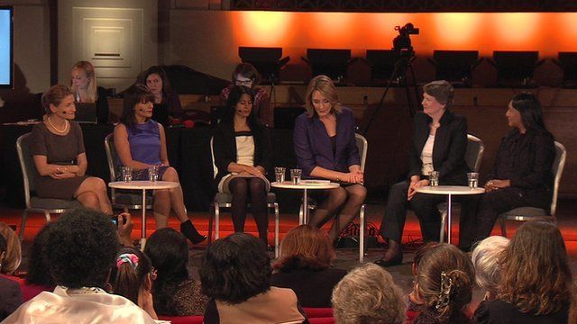 BBC glass ceiling panel: Michaela Bergman, Heather Jackson, Rehana Azib, Lucy Hockings, Helen Clark, Andy Kawa