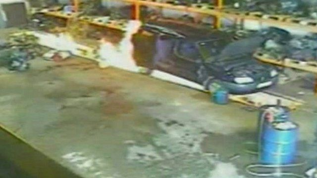 CCTV of the fire