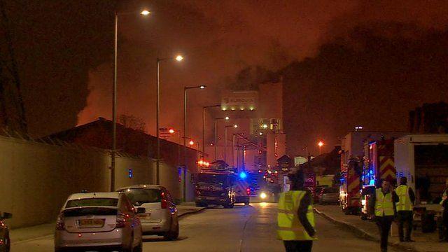 The large fire in Dagenham