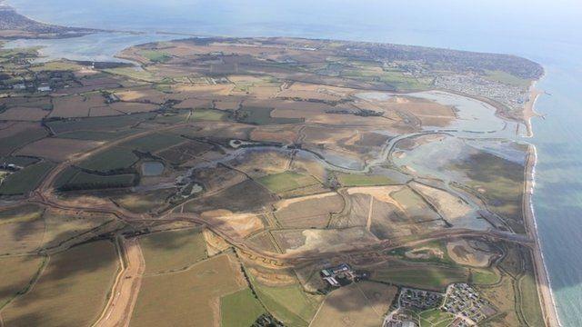 "UK""s biggest sea defence scheme in Medmerry, West Sussex"