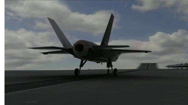F-35B jet taking off from aircraft carrier