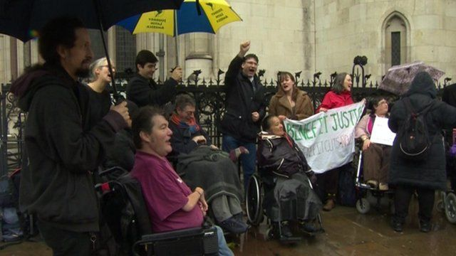 Campaigners outside Royal Courts of Justice