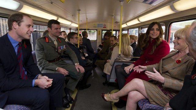 Duke and Duchess of Cambridge on London bus with Barbara Windsor