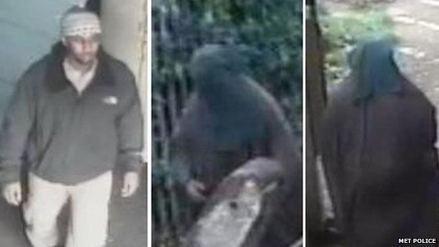CCTV pictures of Mohammed Ahmed Mohamed in western clothes and in a burka