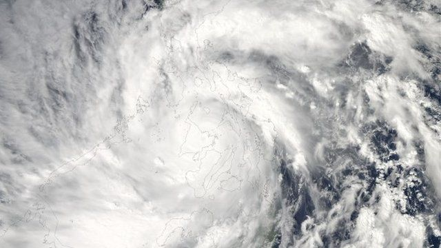 A satellite image of Typhoon Haiyan