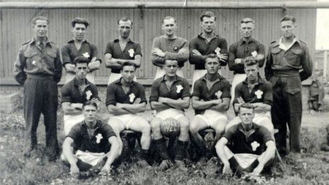 Wales football team at Auschwitz - Mr Jones is in the middle of the back row