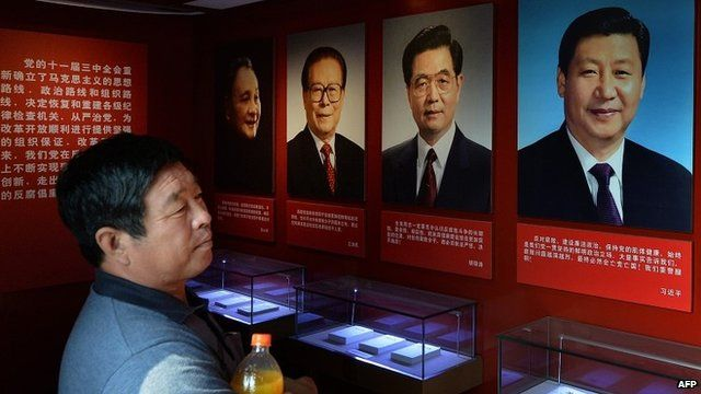 Portraits of Chinese leaders in Beijing