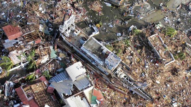 An aerial view of devastation in Tacloban city in central Philippines