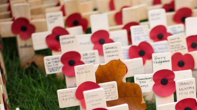 Poppies on crosses outside Westminster Abbey