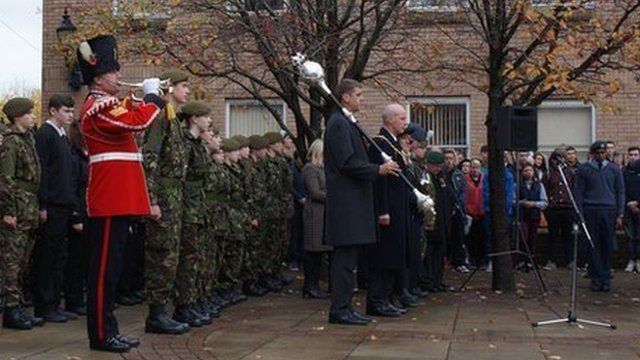 Bugler, cadets and crowd in Wrexham