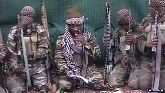 Screenshot from video purportedly showing Boko Haram leader Abubakar Shekau and militants - file image