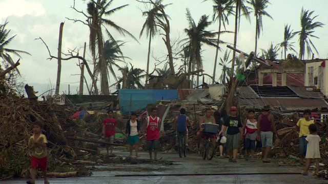 Devastated street in the Philippines