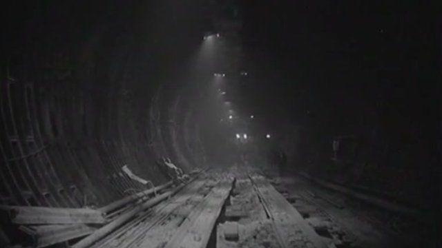 The first Dartford tunnel under construction