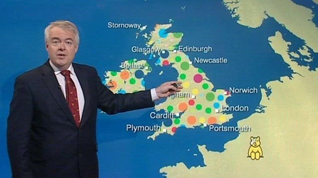 Carwyn Jones presents the Children in Need weather forecast